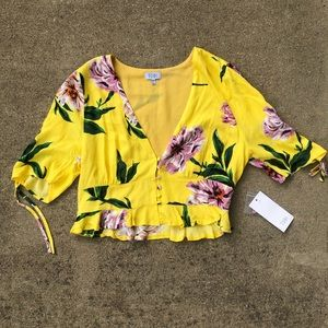 NWT Tobi button front botanical crop top